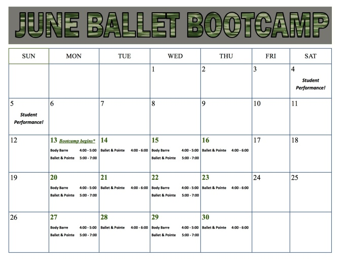 2016 Ballet Bootcamp schedule with out teachers